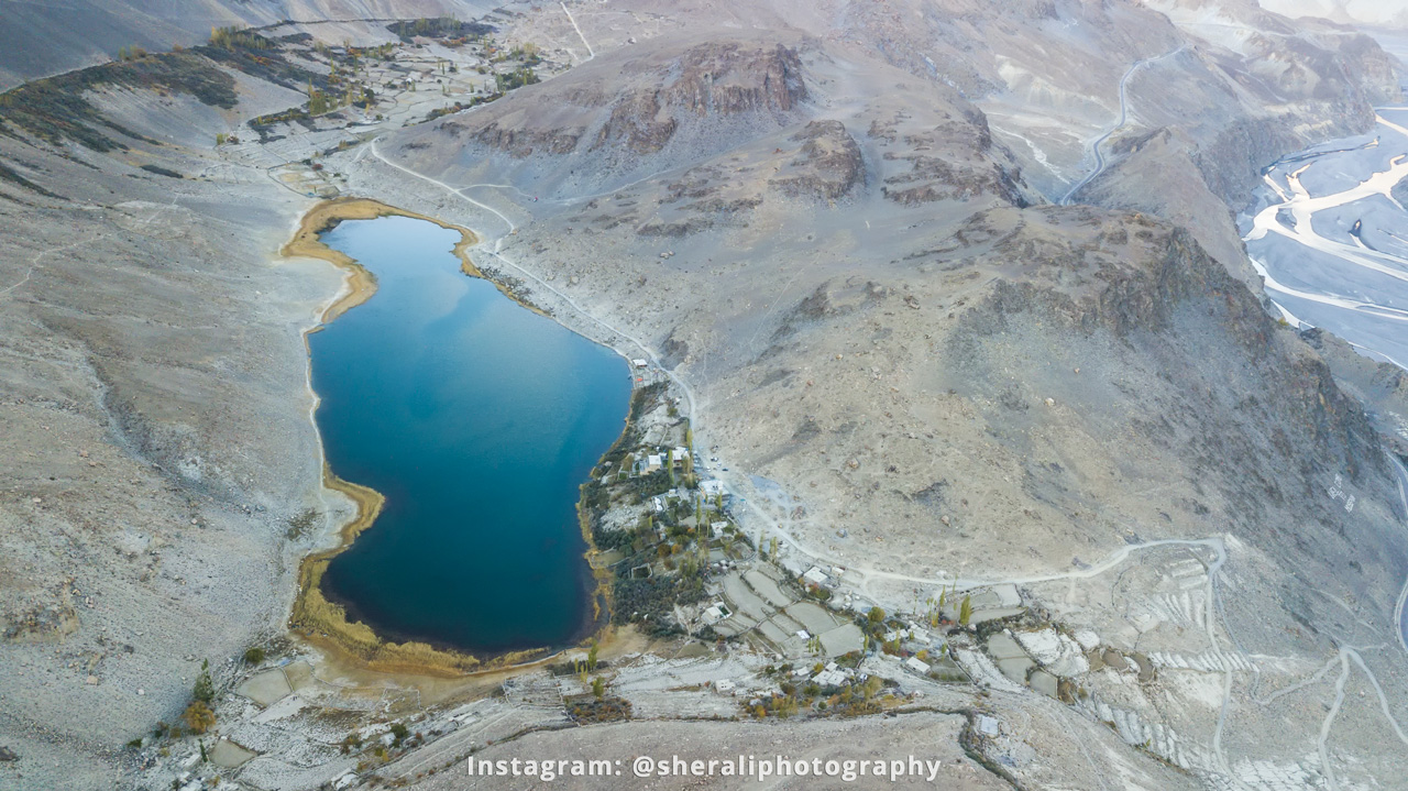 Drone view of Borith lake in Gojal, Upper Hunza