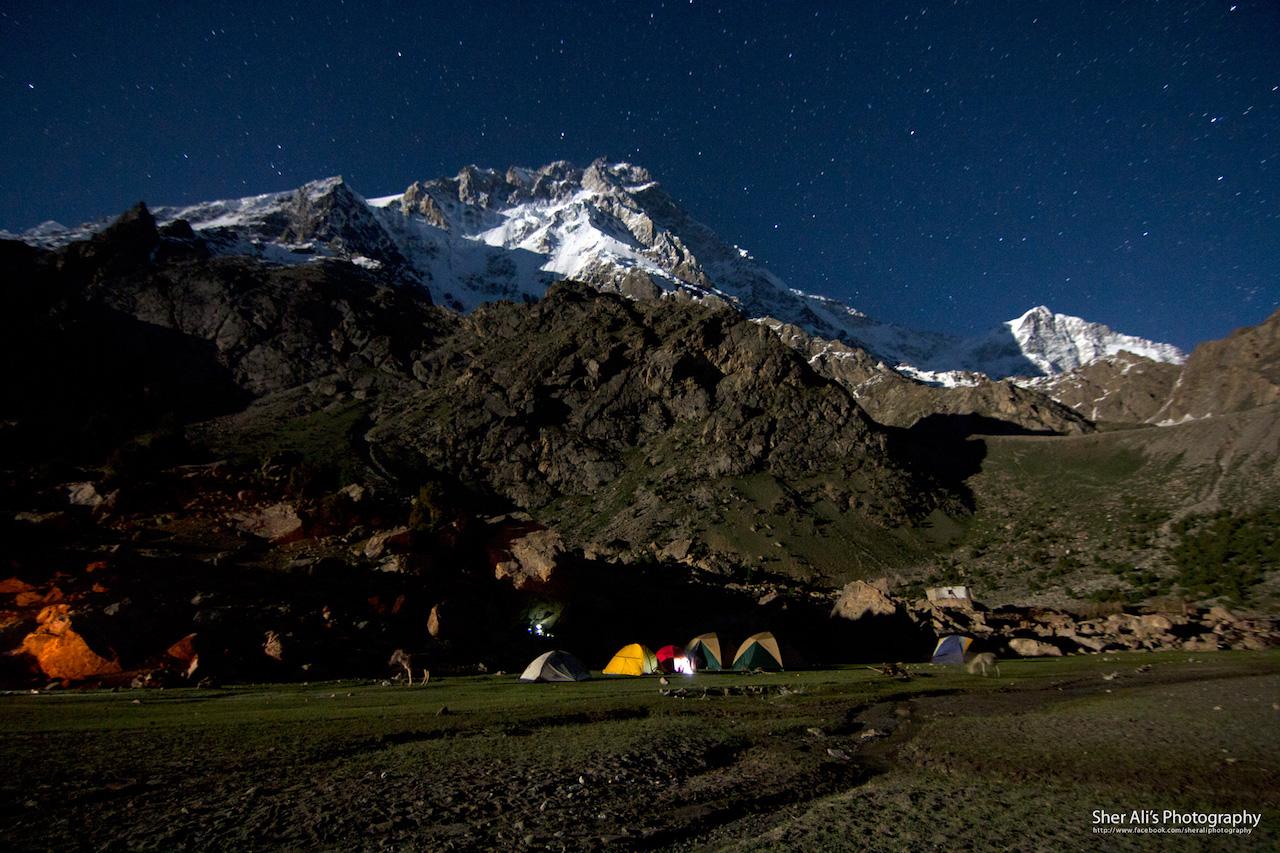 Nanga Parbat view at night from Latoboh campsite