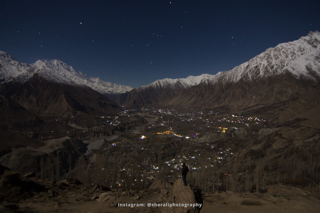 Night view of Central Hunza from Duikar