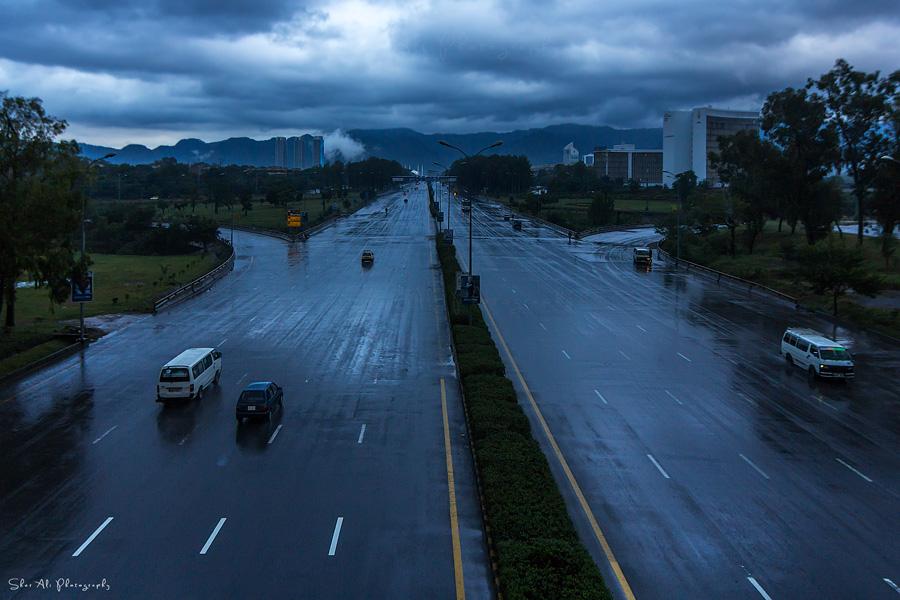 view towards Shah Faisal Mosque after rain